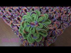 Dahlias verde Chal Crochet - YouTube