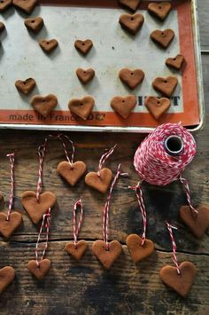 Gingerbread hearts and stars on red and white string