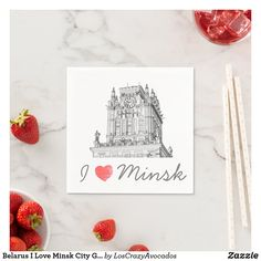 Belarus I Love Minsk City Gates Architecture Napkins Ecru Color, Party Items, Paper Napkins, Cool Gifts, Gates, Keep It Cleaner, Presentation, Architecture, My Love