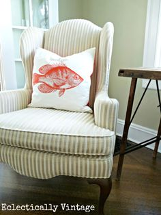 Goldfish Pillow...pillow giveaway at  www.eclecticallyvintage.com