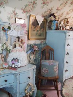 Shabby Chic Bedroom - lovely wallpaper and blue dresser etc..Little bit busy but lotsa pretties to look at.
