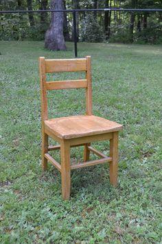 Vintage Wood School Desk Chair Children Size West by PanchosPorch