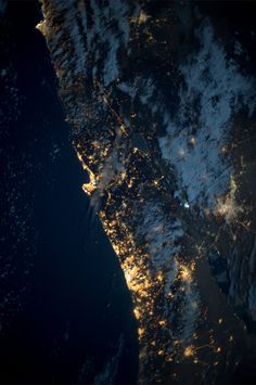 Eastern Mediterranean coast, Tel Aviv to Beirut. Taken October 18, 2013.  KN from space.