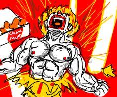 Mc nugget turn customer in super saiyan
