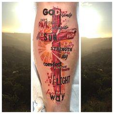 Just a few words! #tattoo #cross #lettering #art #religious #sun #tattoos #tattooartist #tattooboogaloo #instagood #instatattoo…
