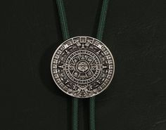 Legendary Aztec Calendar Stone Design Antique Silver Finish Medallion on Paracord Bolo Tie - Choose From 12 Cord Colors & 4 Tip Designs on Etsy, ฿1,400.00