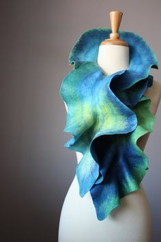 Felted scarf wool ruffled Blue Green Yellow by VitalTemptation, $79.00