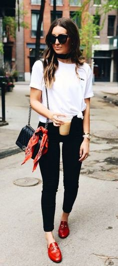 summer outfits White Tee + Black Skinny Jeans + Red Leather Loafers