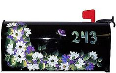floral painted mailbox, ladybugs would be cute too