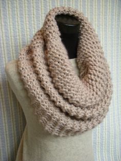 Pale Linen Knit Cowl Extra Large Chunky Knitted by barleyandflax