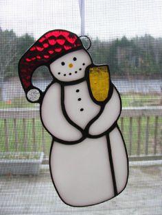 Stained Glass Snowman Ornament Suncatcher by RedfordGlassStudio, $22.50