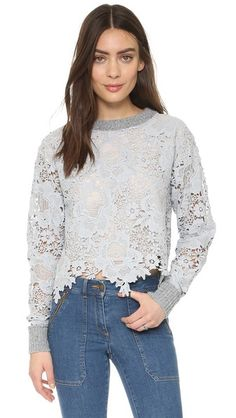 See by Chloe | Pullover with Lace in dusty blue