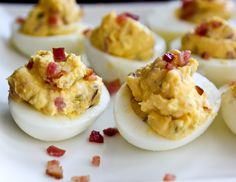 I'm always on the look out for new snack ideas. Safe snack ideas, that is. So I decided to compile all of my favorite paleo snacks posts here so you guys can check em out. Bacon Deviled Eggs, Deviled Eggs Recipe, Scrambled Eggs, Bacon Recipes, Egg Recipes, Sauces, Salsa, Recipe Images, So Little Time