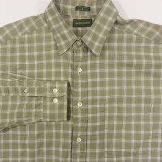 Levis Dockers Shirt Large Mens Green Plaid Casual 100% Cotton Long Sleeves #DOCKERS #ArtieBobs #MensFashion #Style ArtieBobs.com