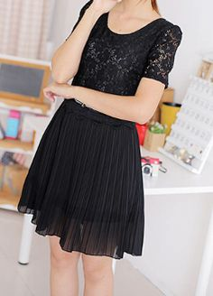 Women's Lace Chiffon Dress with Bow