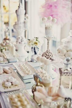 All-white dessert bar by Sugar & Spice, event coordinator: Coquette Events