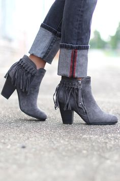Gail Fringe Bootie {Grey} - The Fair Lady Boutique - 1 Size Grey Ankle Boots, Fringe Booties, Shoe Boutique, Ladies Boutique, Fashion Boots, Bootie Boots, Fashion Design, Fashion Trends, Fashion Ideas