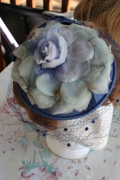 Vintage Hat Fascinator Blue Satin Roses Classy by RomantiqueTouch, $32.00
