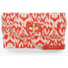 Chico's Idra Ikat Clutch (919.565 IDR) ❤ liked on Polyvore featuring bags, handbags, clutches, coral, red handbags, fold over handbag, foldover clutches, fold over purse and locking purse