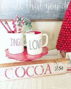 I really wanted a cocoa sign and had some wood laying around so made a few signs with different sayings. I'm really thinking about investing in a cricut machine. This is just stenciled, but I'd love to do different fonts and styles. I love to paint and make stuff, it's definitely a form of therapy, need to  step up my game tho! #diy #chalkpaint #wood #woodsigns #hotcocoa #winter #christmas #cocoabar #raedunn #raedunnclay #homegoods #target #targetstyle #onespot #red #white #homedecor…