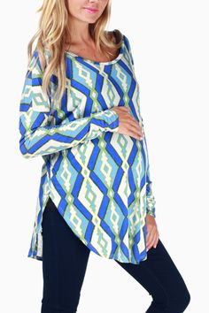 Blue White Green Diamond Print Maternity Top #maternity #fashion