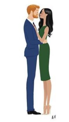 Harry and Meghan illustration. Cute!