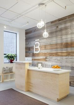 Reception wood accent wall
