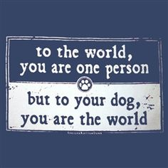 To the world, you are one person, but to your dog, you are the world