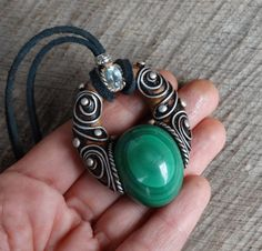 SHIPPING INCLUDED Malachite and Aquamarine Pendant by FairyDrop hippie pendant hippie necklace bohemian boho jewelry