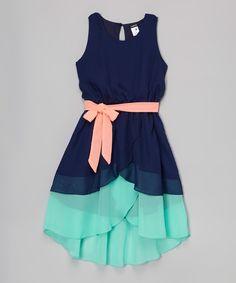 Navy & Jade Belted Hi-Low Dress - Girls