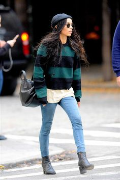 Zoe Kravitz, who kept warm and cozy in jeans and a cute striped sweater layered over a T-shirt while out and about in New York City on Nov. 5, 2015. Keep clicking for more fall fashion!