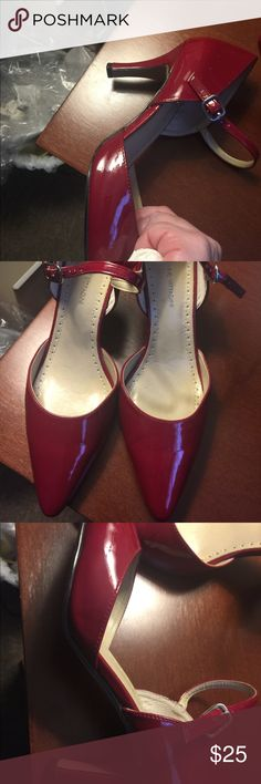 Adrienne Vitadini Red Patent Heels with Straps 7M Adrienne Vitadini Red Patent Heels with Straps, worn twice, there's a mark on the inside (see pic) of one shoe. These are gorgeous!! 7M Adrienne Vittadini Shoes Heels