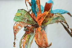 sheer fabric and tyvek wired flower by lovetostitch on flickr