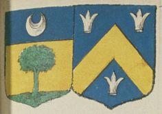 René DE LA LANDE, Escuier, Sieur de la Vergnée, et Catherine RAARTIN/ROARTIN, son épouze. Portent : d'or, à une arbre de sinople sur une terrasse, et un chef d'azur, chargé d'un croissant d'argent ; acolé d'azur, à un chevron d'or, accompagné de trois roquets d'argent, deux en chef et un en pointe   N° 145