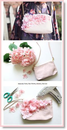 DIY Floral Crossbody Purse Flower power not only in the flower vase. With small Dekoblumen a completely new look is created, which provides a feminine and elegant eye-catcher. Flower Power, Coin Purse Tutorial, Tote Tutorial, Diy Clutch, Diy Purse Crossbody, Diy Bags Purses, Diy Handbag, Purse Patterns, Sewing Patterns