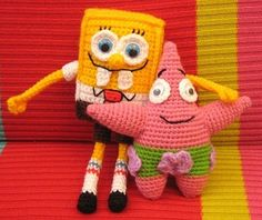 Sponge Bob - Free Crochet Pattern - See http://web.archive.org/web/20120616033605/http://www.latenighthooker.com/2009/06/its-amazing-what-you-can-find-under.html For Patrick Starr - (magneticmary.blogspot)