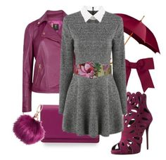 """""""burgundy"""" by charlottewheelerxo ❤ liked on Polyvore featuring Chassè, Givenchy, Ted Baker, Giuseppe Zanotti, H&M and shein"""