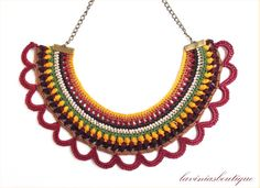Colorful bib necklace, Handmade crocheted jewelry, Fiber necklace, Ethnic knitted necklace, Bold Necklace in Yellow, Burgundy and Brown