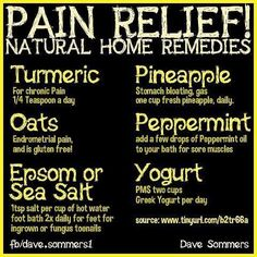 Pain Relief Natural home remedies  Follow us @ http://pinterest.com/stylecraze/health-and-wellness/  for more updates.