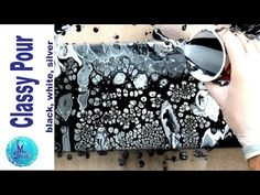 Long Canvas Black, white and Silver Acrylic Pour with Silicone and cells. Stretched canvas - YouTube
