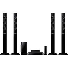 Home Theater Blu-Ray 3D Samsung HT-F5555WK 1000W Wireless Rear 5.1 Canais Tall Boy Full HD com Funções HDMI, USB, Bluetooth, Karaokê e Função Futebol