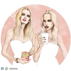 Artwork by @miomo feature tag: #inspringpieces  #illustration #akvarell #watercolor #art #inspiring #inspiration #drawing #artist #illustrator #girls #fashion #food #milkshake #fries