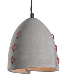 Confidence ceiling lamp is made of faux concrete with contrasting red accents woven though shade giving the look of sewn layers. Suspended by wire and grey electrical cord. Install in kitchen or bar areas, kids rooms or restaurants and bars to add a fun industrial look. Bulbs not included. Bulbs sold separately, Max Wa