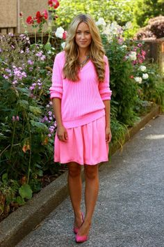 All Pink Fashion Inspiration - Pink sweater with pink pleated skirt and pink shoes