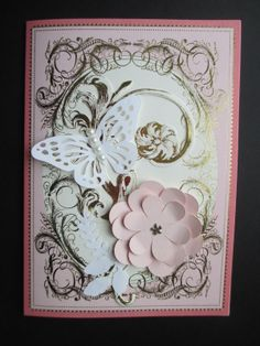 Anna Griffin layers with Cricut butterfly and flower