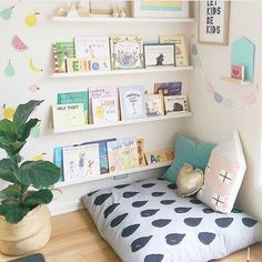 kid playroom design, kid playroom decor ideas, playroom organization for kid room, kid room decor, reading nook and book ledges in girl room Playroom Design, Kids Room Design, Playroom Decor, Modern Playroom, Colorful Playroom, Kids Rooms Decor, Design Girl, Small Playroom, Book Design