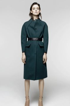 Teal trench. Nina Ricci | Pre-Fall 2014 Collection | Style.com