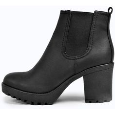 Boohoo Tia Chunky Cleated Heel Chelsea Boot (€37) ❤ liked on Polyvore featuring shoes, boots, ankle booties, ankle boots, botas, black, black block heel booties, high heel ankle boots, high heel booties and chelsea boots
