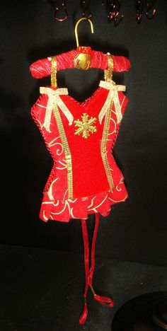 Noel UNDERMENTS Christmas Wishes Lingerie Ornament Decor OOAK Handmade  (seller i.d. elina133)