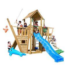 Jungle Gym legeplads - Mansion Legetårn med bådmodul, rutsjebane, sandkasse, klatrevæg mv. 9699,-